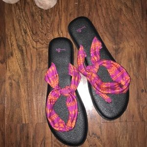 Orange and Maroon Sanuk Beach Sandals
